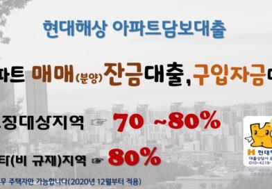 현대해상 MI대출 고양시 김포시 남양주시 조정대상지역 최대80% 현대해상 아파트매매대출